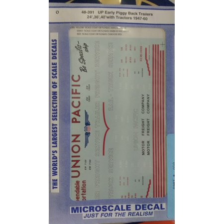 Microscale 48-391 Railroad Decal Set - Union Pacific Early 24 36 & 40