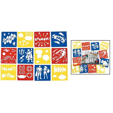 Superhero Stencils (12 Pack) Plastic. 5