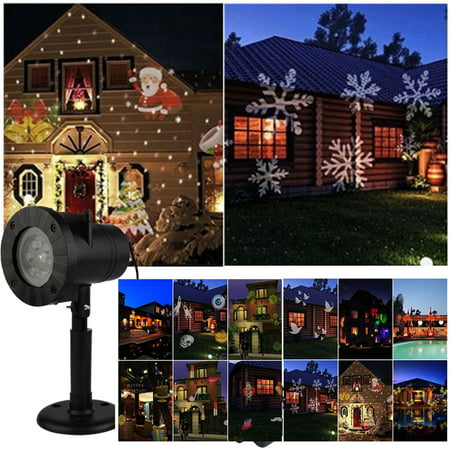 Led Christmas Lights Outdoor Lawn Light Projector Indoor Projection Rotating 12 Patterns Landscape Lamp ,Lighting for Halloween, Holiday, Party, Birthday Decoration