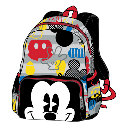 12in Mickey Mouse Happy Face 3D Black Small Toddler School (The Best North Face Backpack For School)