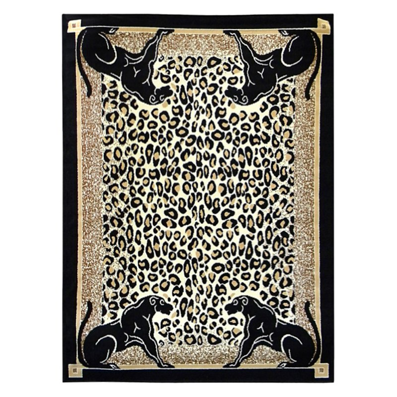 DonnieAnn AFPANTH African Adventure Panther Border Area Rug - Berber