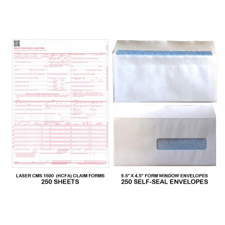 Claim Form Window Envelopes - New CMS 1500 - HCFA Insurance Claim Forms and Self-Seal No. 10-1/2 Tinted Window Envelopes - 250 FORMS AND ENVELOPES