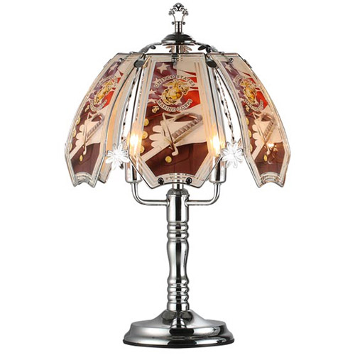 "OK Lighting 23.5""H Marine Theme Touch Lamp, Silver Chrome"