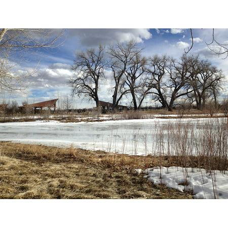 Framed Art For Your Wall Frozen Pond Landscape Pond Winter Ice Nature 10x13 - Frozen Photo Frame