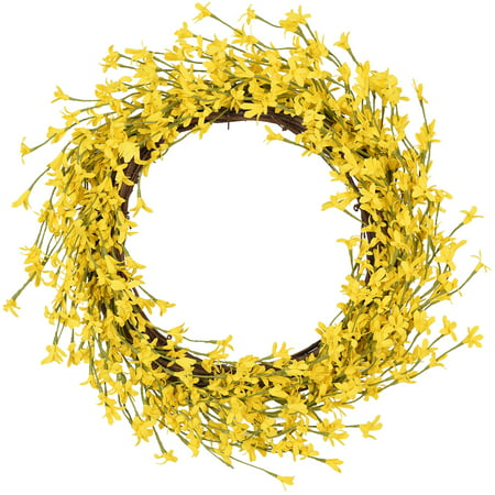 Coolmade Artificial Forsythia Flower Wreath - 16