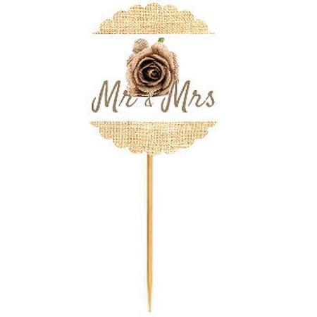 Mr & Mrs Burlap Rose  Rustic Burlap Wedding Cupcake Decoration Topper Food Picks](Rose Cupcakes)