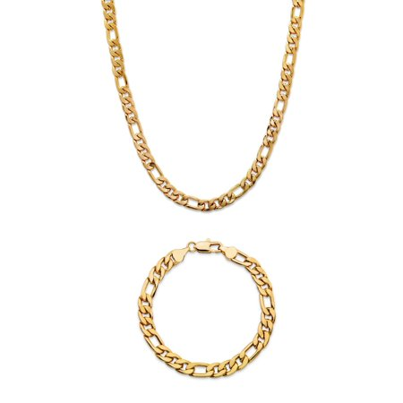 Men's Figaro-Link 2-Piece Chain Necklace and Bracelet Set Gold Ion-Plated 22