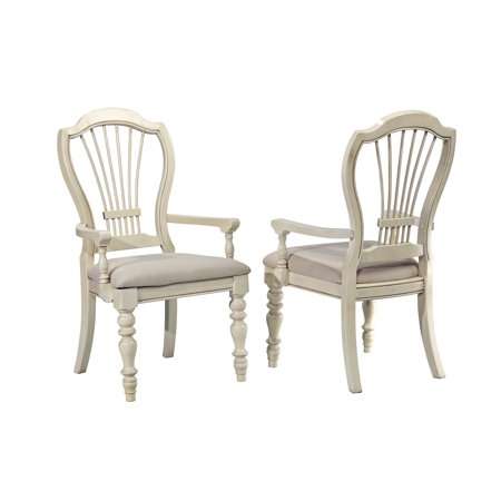 Hillsdale Pine Island Wheat Back Arm Chair - Set of 2, Old White ()