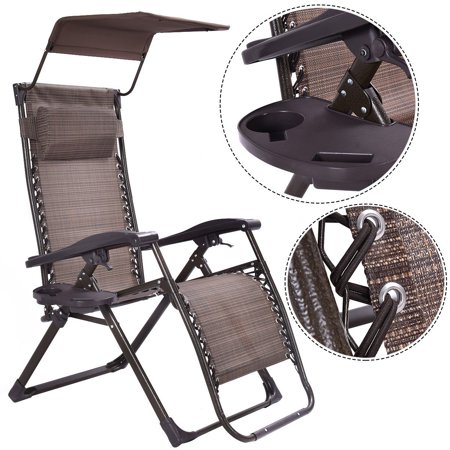 Ghp 265Lbs Capacity Brown Folding Zero Gravity Recliner Chair Lounge W Sunshade Canopy