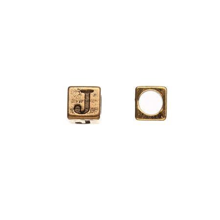 Place Value Cubes (Pewter Alphabet Bead, Antique-Gold Finished, Letter J,8mm Cube Triangle, 5.5mm Hole pack of 10pcs (2-Pack Value Bundle), SAVE $1)
