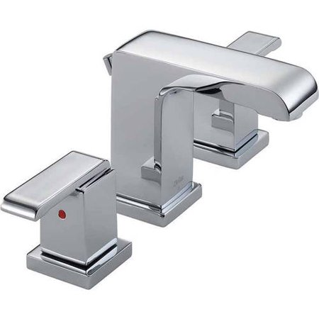 Deco Widespread Lavatory Faucet - Delta Arzo Widespread Lavatory Faucet with Metal Lever Handles and Metal Pop-Up, Available in Various Colors