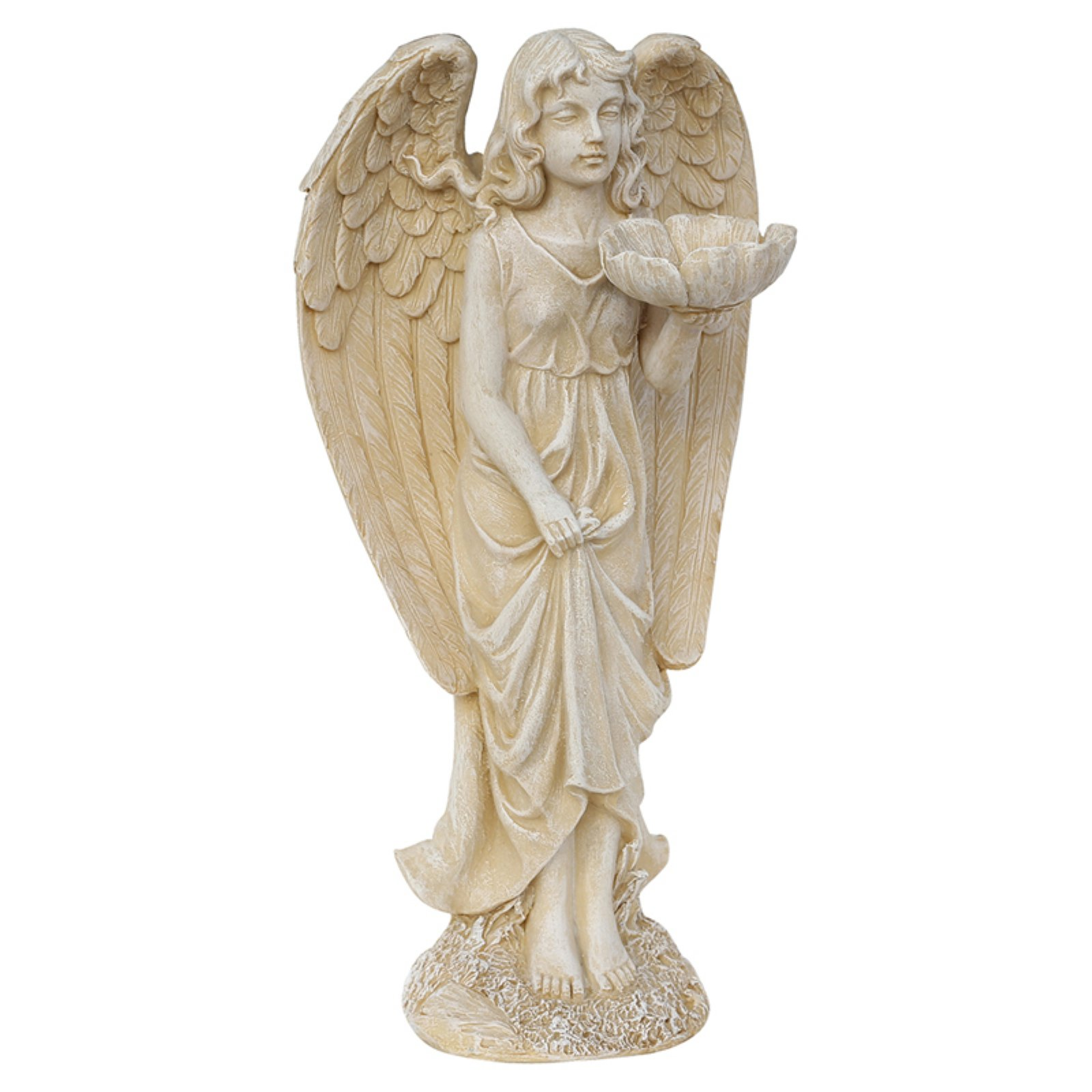"Overstock 20"" Heavenly Gardens Distressed Ivory Cherub Angel Bird Feeder Outdoor Patio Garden Statue"