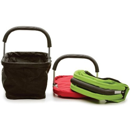 Green Folding Shopping Basket with Pocket for Cell Phone and Keys