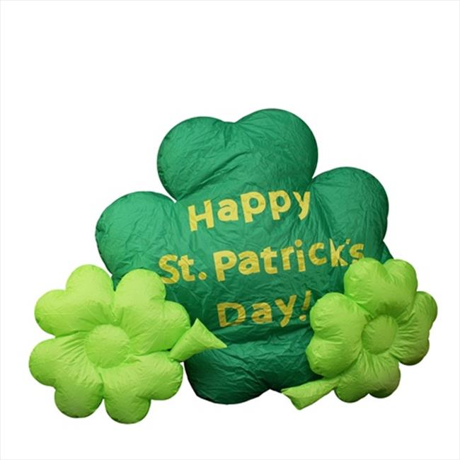 NorthLight 4 ft.  Inflatable Lighted St.  Patricks Day Shamrock Yard Art Decoration
