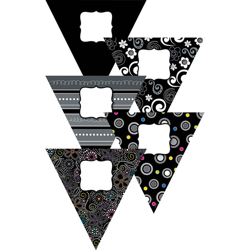 BLACK AND WHITE PENNANTS 10IN  DESIGNER CUT OUTS