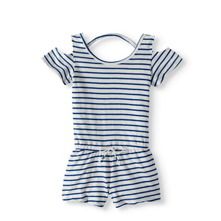 71b0a00fe153 Girls  French Terry Striped Cold Shoulder Romper - Walmart.com