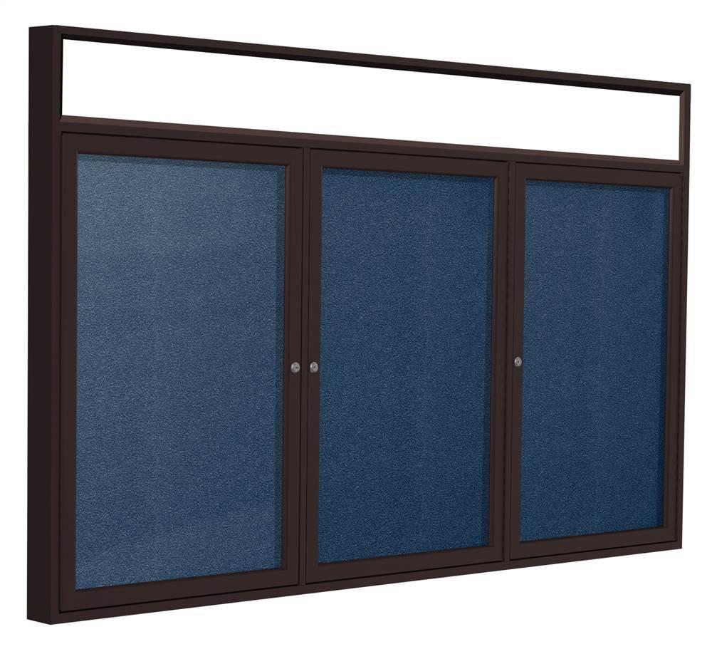 Ghent 3-Door Enclosed Tackboard in Navy (72 in. W x 36 in...