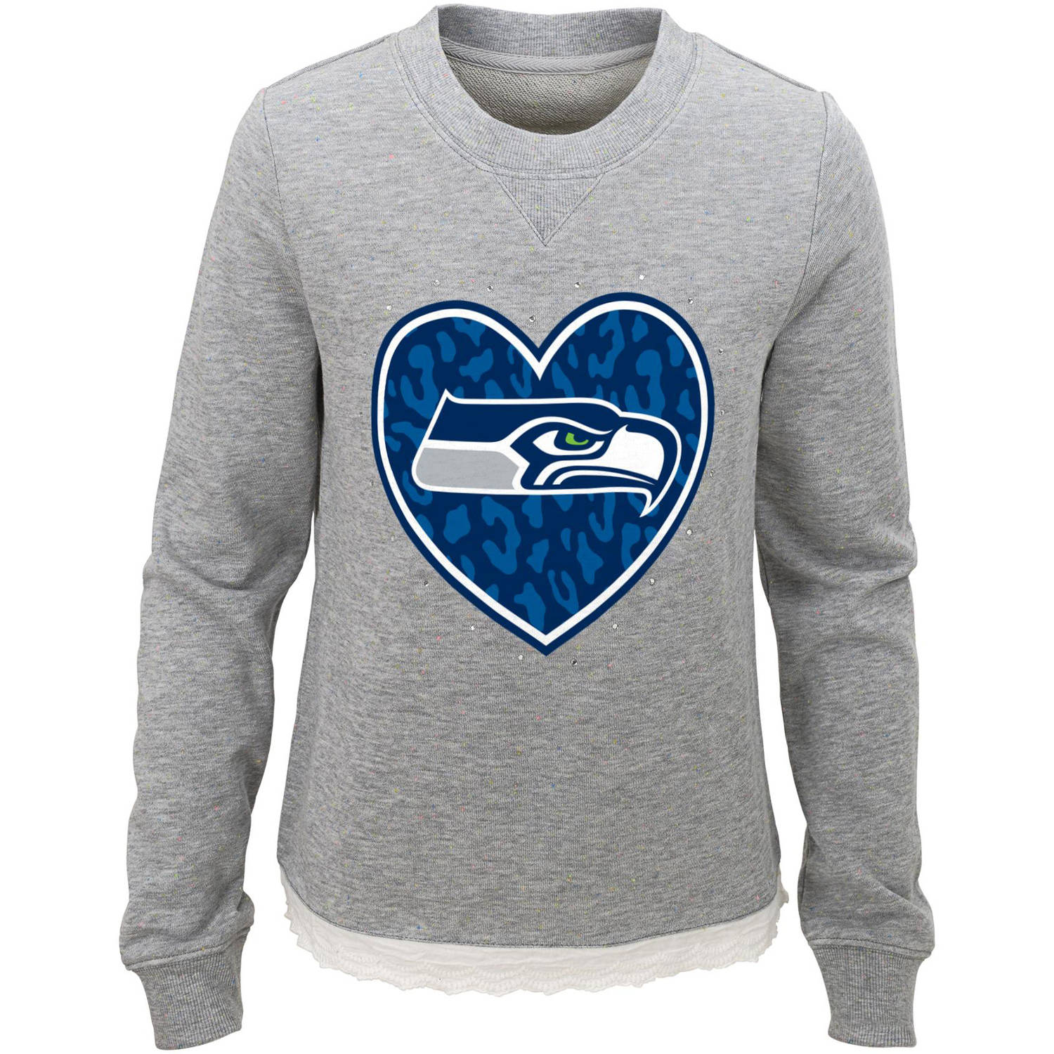 NFL Girls Seahawks Long Sleeve French Terry Crew Neck Fleece