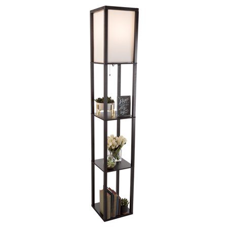 Etagere Style Tall Standing Floor Lamp with Shade, 3 Tiers Storage Shelving by Lavish Home(Black)