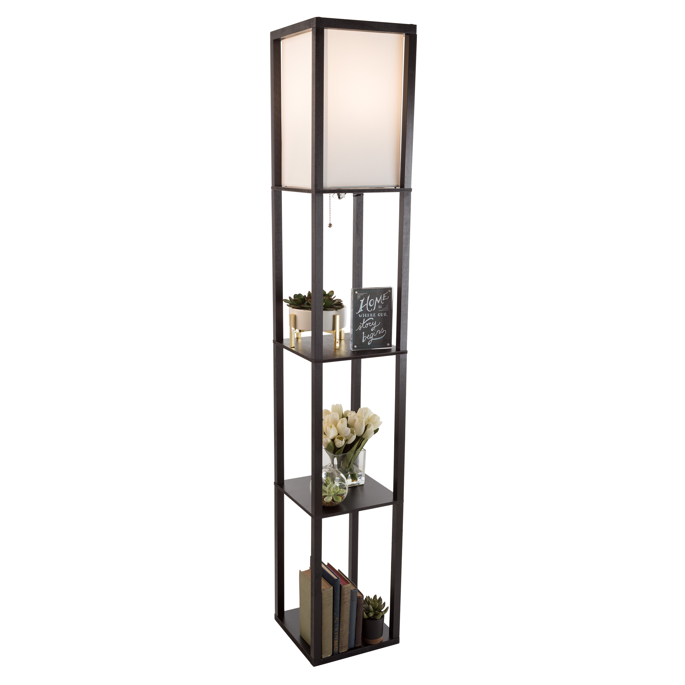 Etagere Style Tall Standing Floor Lamp With Shade, 3 Tiers Storage Shelving  By Lavish Home