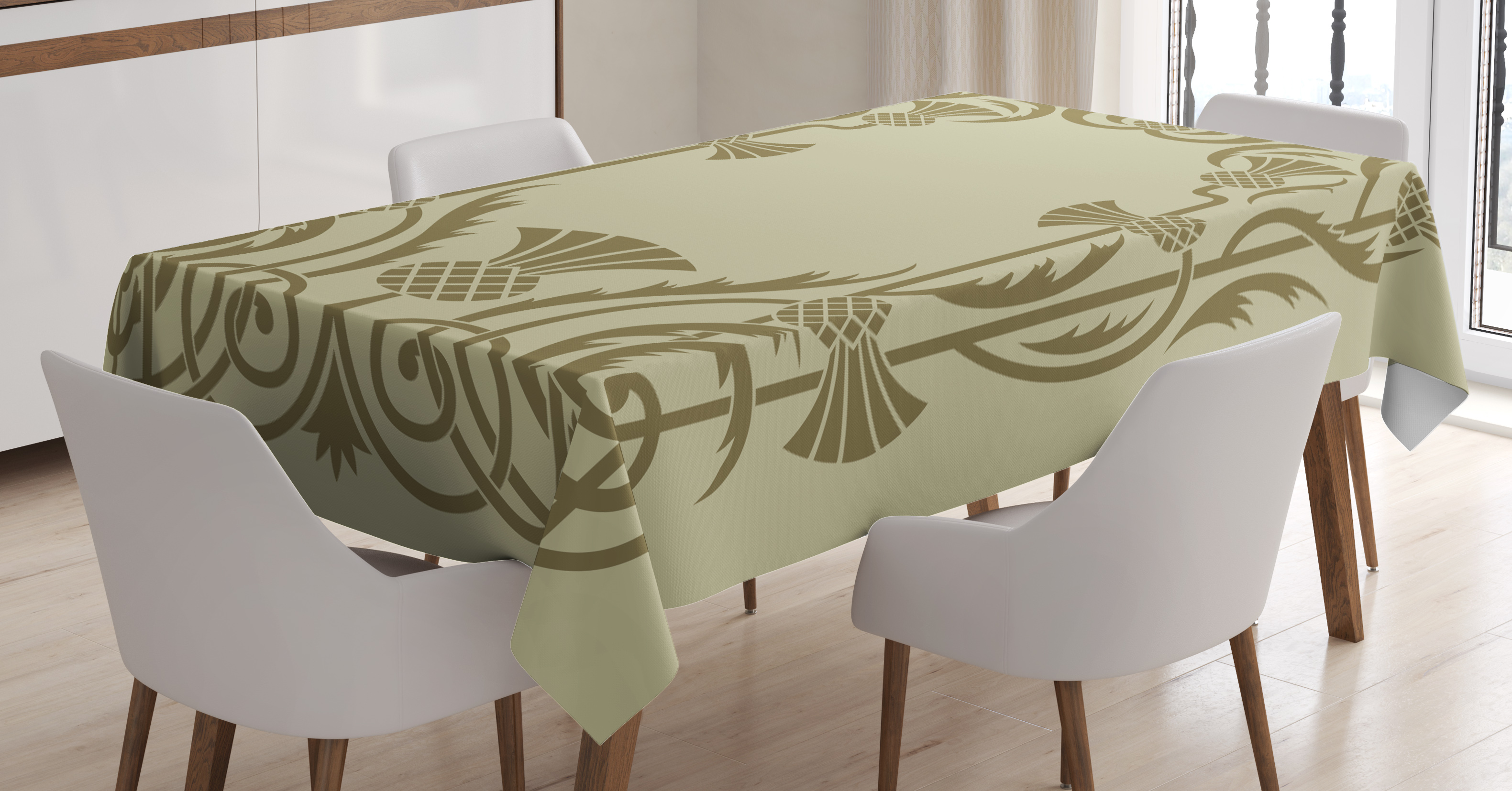 Art nouveau tablecloth botanical framework with pineapples exotic nature inspired antique look rectangular table cover for dining room kitchen