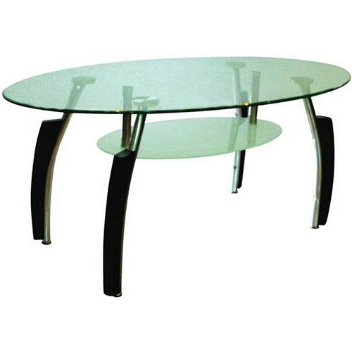 Hodedah Glass Oval-Shaped Coffee Table, Multiple Colors
