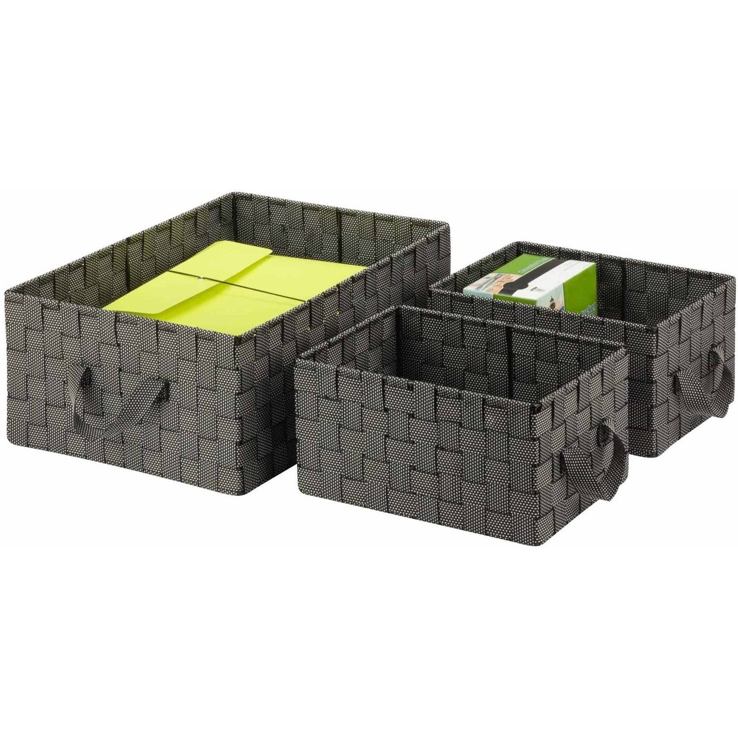 Honey Can Do Woven Baskets with Handles, Multicolor (3-Piece Set)