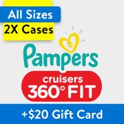 Buy 2, Get $20 Gift Card: Pampers Cruisers 360 Fit Diapers, OMS Pack, (Choose Your Size)