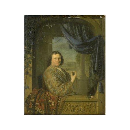 Pieter Van - Portrait of a Man with a Watch, Pieter Cornelisz. Van Slingelandt. Print Wall Art By Pieter Cornelisz van Slingelandt