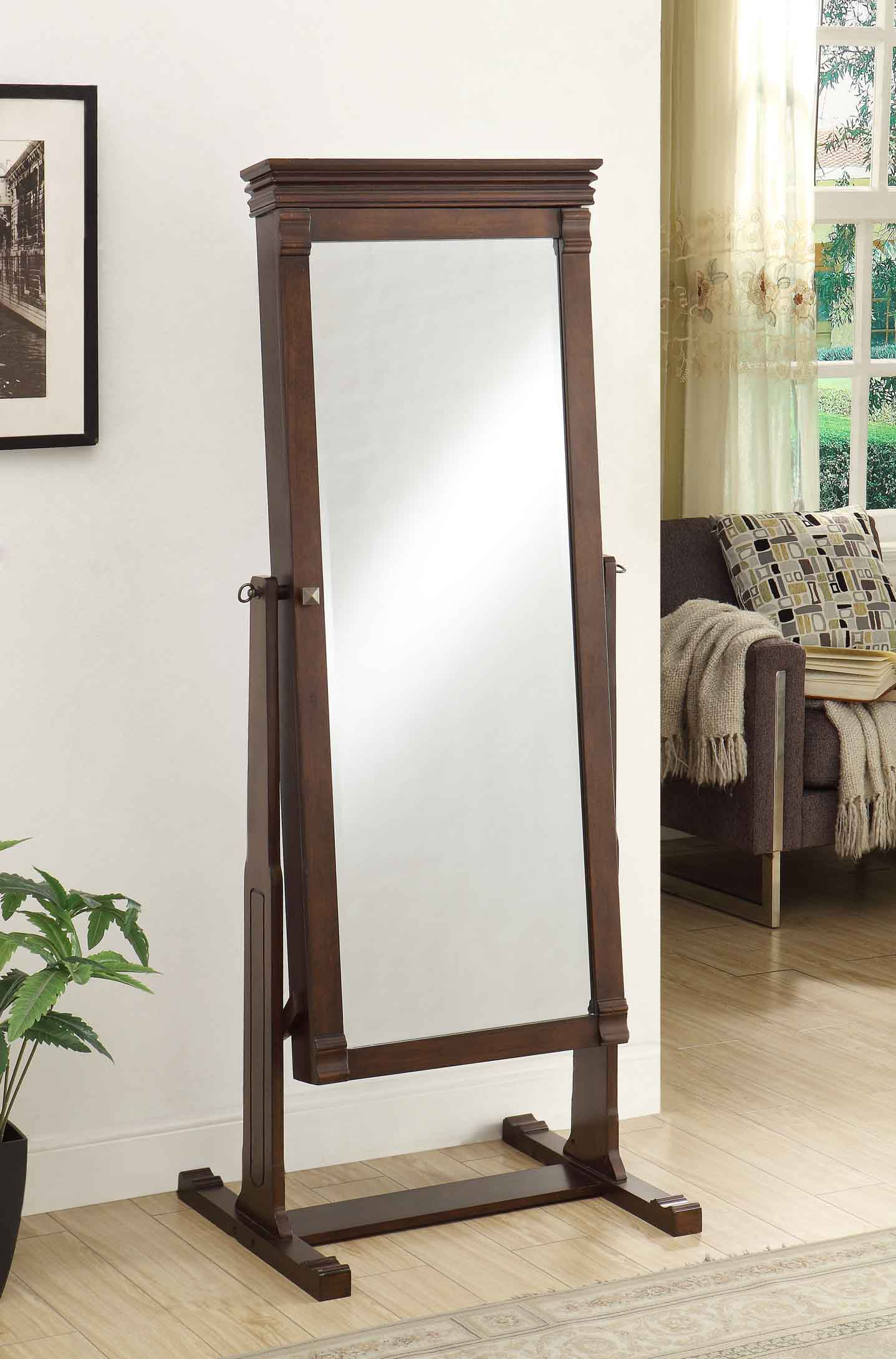 Linon Angela Cheval Mirror, Walnut, 63 inches High by Linon
