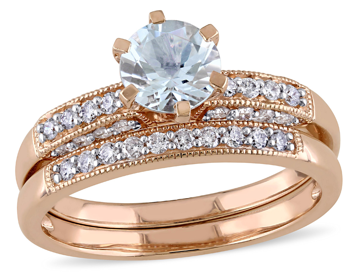 Aquamarine 3 4 Carat (ctw) with Diamond 1 3 Carat (ctw) Bridal Set Ring in 10K Pink Gold by Gem And Harmony
