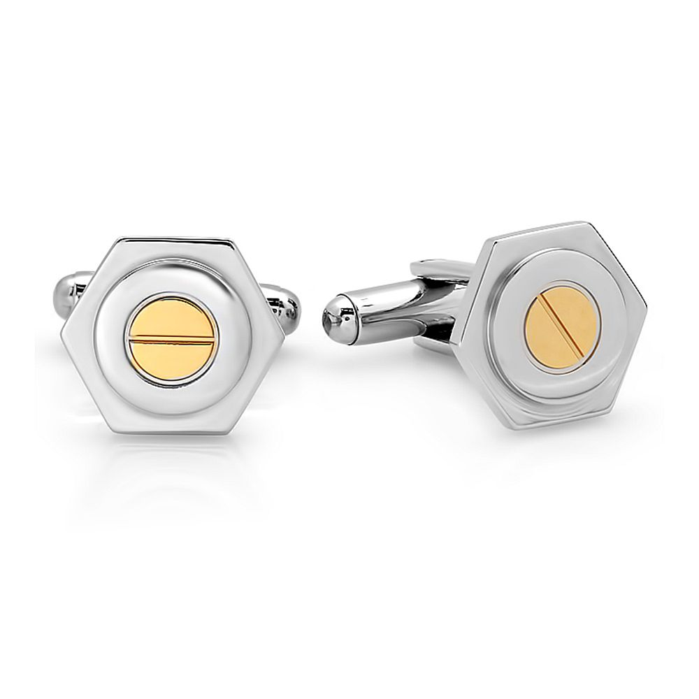 2-Tone Silver and Gold Color Stainless Steel Hexagon Cufflinks For Men 13x15mm