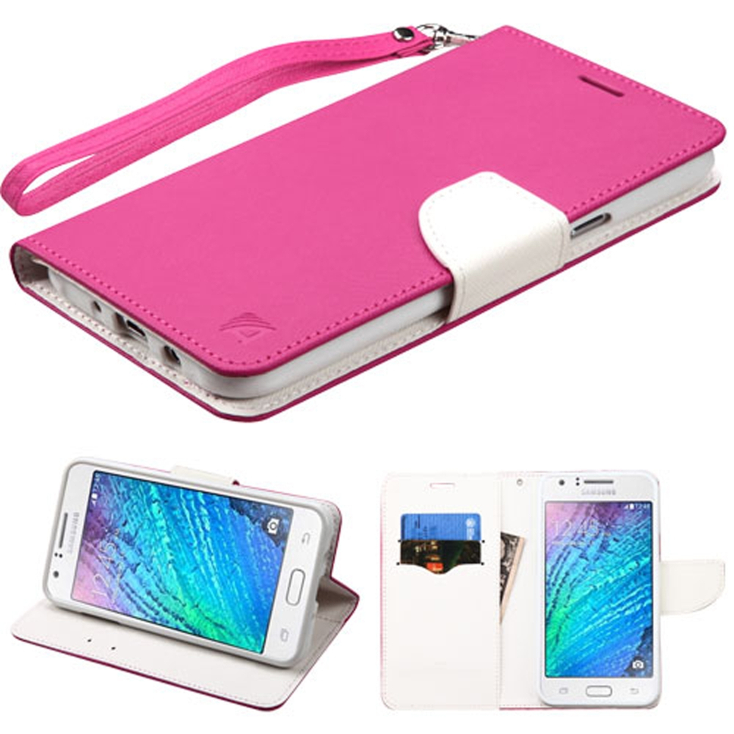 Insten Book-Style Leather Fabric Case Lanyard w/stand/card holder For Samsung Galaxy J7 (2015) - Hot Pink/White