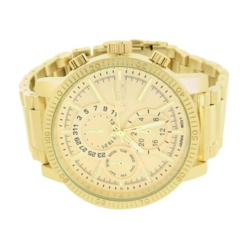 Mens 2 Time Zone Multiple Dial Watch Gold Finish Ny London Stainless Steel Back