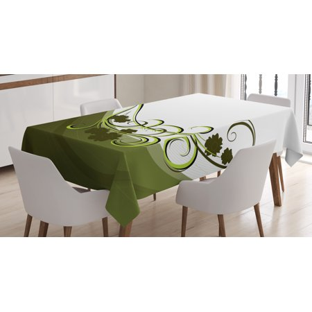 Olive Green Tablecloth, Wedding Inspired Floral Arrangement Flourishing Nature Print, Rectangular Table Cover for Dining Room Kitchen, 60 X 84 Inches, Olive and Pale Green White, by Ambesonne
