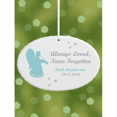 Personalized Always Loved Memorial Oval Christmas Ornament