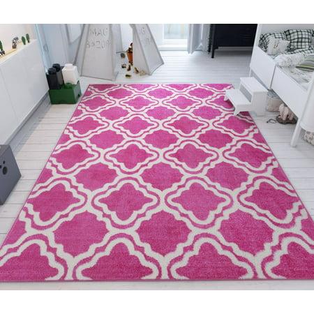 "Modern Rug Pink 3'3"" x 5' Lattice Trellis Accent Area Rug ..."