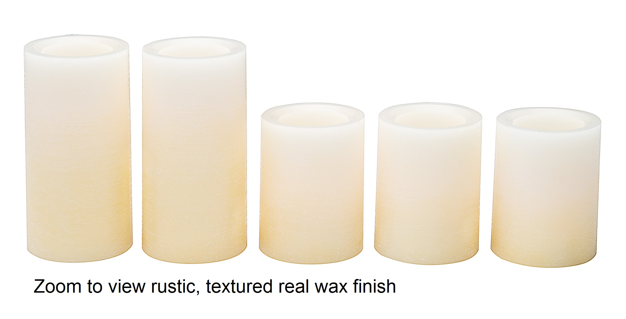 Buttercream Candle Impressions Ombre Design Pillar Real Wax Flameless Candles w//Auto Timer Feature Set of 5