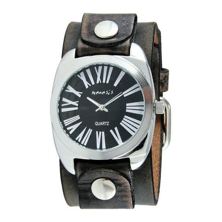 Men's Retro Roman Faded Black Leather Cuff Band Watch ()