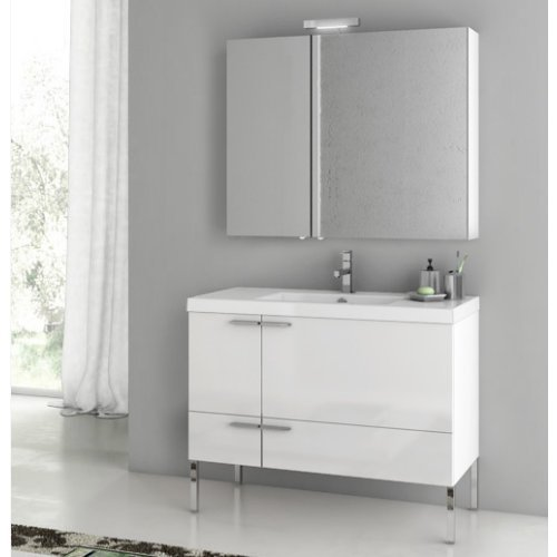 ACF by Nameeks ACF ANS15-GW New Space 39-in. Single Bathroom Vanity Set - Glossy White