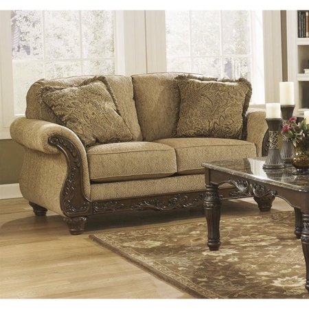 Ashley Cambridge Fabric Loveseat In Amber