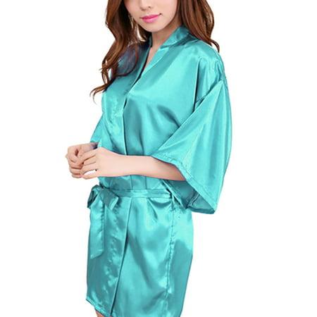 Womens Short Kimono Solid Satin Lounge Robe, Bride & Bridesmaid Robes - Lightweight Bathrobes (Womens Satin Robes Short)