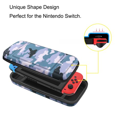 Fintie Carrying Case for Nintendo Switch - Shockproof Hard Protective Cover Travel Bag w/ 10 Game Card Slots, Camo Blue - image 1 of 7