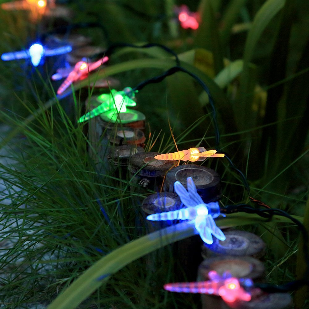 Charming Qedertek Dragonfly Solar String Lights Outdoor, 20ft 30 LED Waterproof  Fairy Decoration Lighting For Indoor/Outdoor Patio, Lawn, Garden, Party,  Wedding, ...