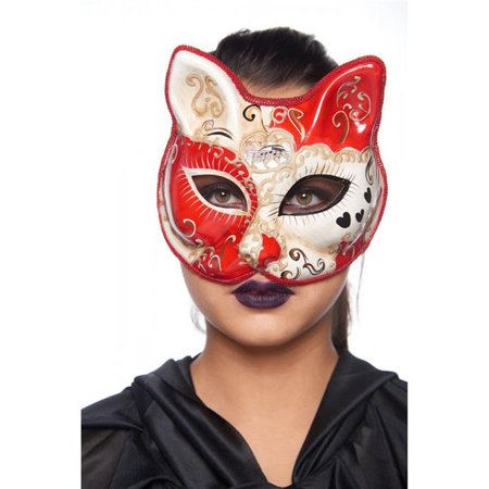Kayso PM0031RD Red & Ivory Cat Mask