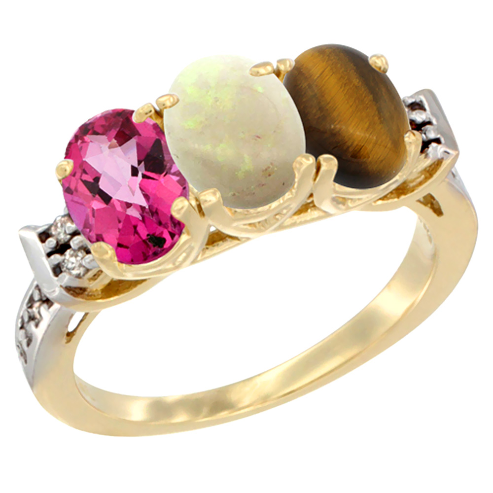 10K Yellow Gold Natural Pink Topaz, Opal & Tiger Eye Ring 3-Stone Oval 7x5 mm Diamond Accent, sizes 5 10 by WorldJewels