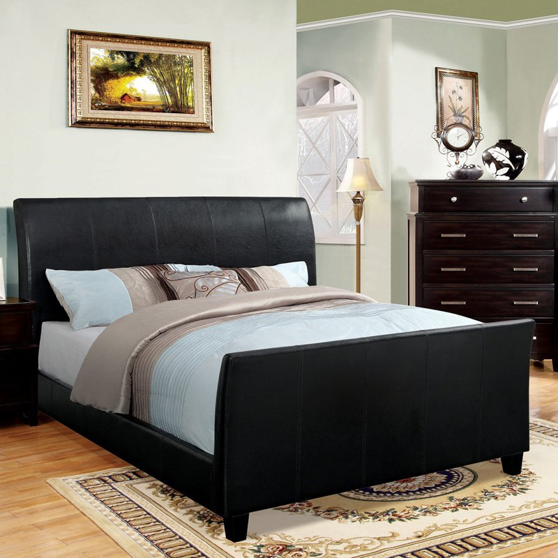 Furniture of America Diego Made Leatherette Sleigh Bed