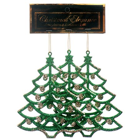New 378609  Hx Ornament Tree Glitter 3Pk Assorted (36-Pack) Action Cheap Wholesale Discount Bulk Toys Action