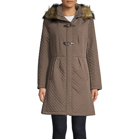 Marc New York Quilted Jacket - Quilted Faux Fur Hooded Jacket