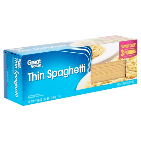 (2 pack) Great Value Thin Spaghetti Pasta Family Size, 48 oz
